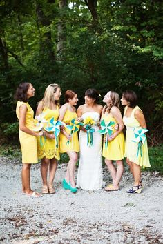 sunny yellow bridesmaid dresses perfect for outdoor wedding http://thingsfestive.blogspot.com/2012/09/eco-chic-wedding-in-grand-beach-mi.html