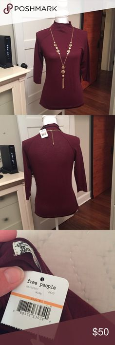 NWT small Free People 3/4 mock neck wine color NWT small Free People 3/4 mock neck wine color Free People Tops