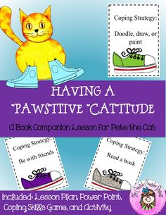 Pete the Cat Companion Lesson: Having a Positive Attitude Counseling Lesson Leadership Activities, Counseling Activities, Physical Education Games, Group Activities, Elementary School Counselor, School Counseling, Elementary Schools, Guidance Lessons, Cooperative Learning