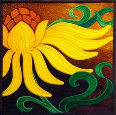 """""""Wallflowers: & 2010 by Diane Evans (Private Collection) Patchwork Quilting, Applique Quilts, Sunflower Quilts, Sunflower Leaves, Quilt Festival, Silk Painting, Acrylic Paintings, Mellow Yellow, Fabric Art"""