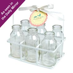 Set of 6 Milk Bottles in Crate