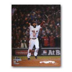 Dustin Pedroia Autographed 2013 World Series Unframed 16x20 last