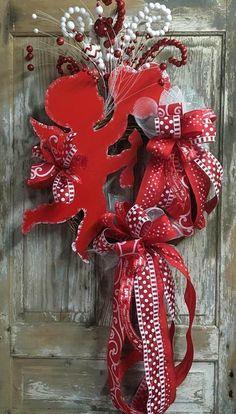Cupid wreath valentine day Wreath front door wreath wood