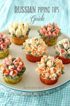 Russian Piping Tips Guide by Make Fabulous Cakes (baking recipes cupcakes how to make) Russian Cake Tips, Russian Piping Tips, Russian Cakes, Buttercream Recipe For Russian Tips, Frosting Tips, Frosting Recipes, Buttercream Frosting, Fondant Recipes, Vanilla Frosting