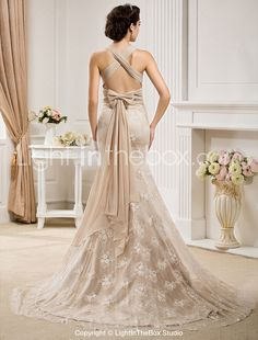 Not keen on the colour, definitely go white! Trumpet/Mermaid V-neck Court Train Lace And Chiffon Wedding Dress - USD $ 248.49