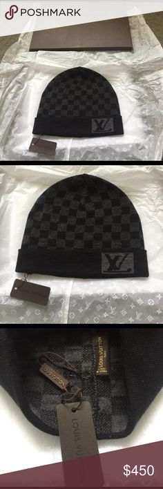 New Authentic Louis Vuitton damier unisex hat New authentic with tags  attached Loius Vuitton black and b242d2c045df