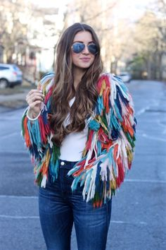 The Naked Tiger Andi Bagus Rainbow Plush Shag Jacket, Colorful Shaggy Jacket - Spring - Summer - Diy Fashion, Fashion Outfits, Fashion Design, Fashion Trends, Diy Clothing, Shaggy, Autumn Winter Fashion, Passion For Fashion, Cute Outfits