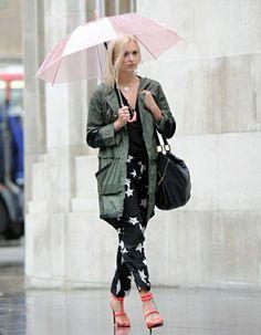 Durchsichtiger Regenschirm rosig grün regen jacke