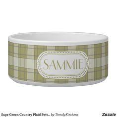 Sage Green Country Plaid Pattern Monogram Bowl Pet Bowls, Photo Displays, Plaid Pattern, Dog Design, Keep It Cleaner, White Ceramics, Sage, Your Pet, Personalized Gifts