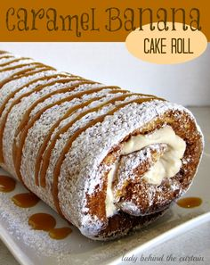 Caramel Banana Cake Roll recipe from Lady Behind the Curtain!! So much easier to make than what most people think!! Give it a go!! You can do it!! Desserts, Cake Recipe, Cake Rolls, Sweets, Food, Banana Cakes, Bananas Cake, Caramel Bananas, Eggs Cups