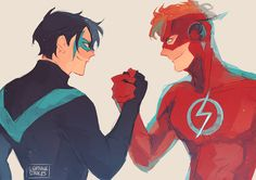 Besties! Also Wally looks GOOD in the Flash outfit hot damn. And Nightwing, amazing as always.