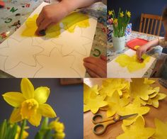 Spring was in the air today - time to make some daffodil bunting! Painting and decorating inspired by nature :)