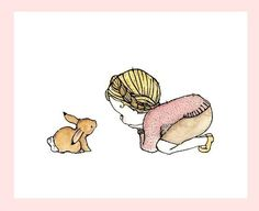 little girl art decor---Rabbit Girl blonde--- 5x7 Archival Art Print. $10.00, via Etsy.
