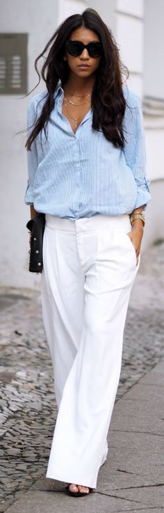 Put on a pair of white wide leg trousers and a striped top. Go Kayla Seah  Shirt: Villa, Pants: DEYK, Shoes: The Mode Collective, Sunglasses: Celine