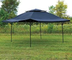 16' X 16' Blue Canopy Patio Lawn Pop up Shade Tent Gazebo Vented Roof + Awning