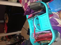 A simple shower caddy as a holder for wallets and wristlets perfect!!!!