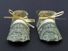 BABY BOOTIES Shoes Dollar Origami  Baby Shower by VincentTheArtist, $9.95