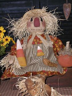 Primitive Folk Art Raggedy Doll* Scarecrow Girl*Prim Pumpkin*Candy Corn*Fall * #NaivePrimitive #SharonHall