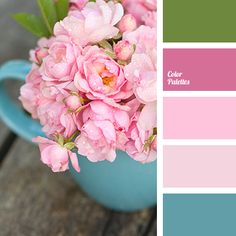 Bright green colour contrasts perfectly with rich raspberry. This palette is perfect for decoration of a young girls room. Paint Color Combos, Colour Pallette, Color Palate, Colour Schemes, Color Patterns, Design Seeds, Coordinating Colors, Color Swatches, Color Theory