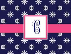 Custom designed stationery with the classic Nautical theme. Choose from a single letter monogram, or a three letter monogram.** These cards