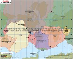 Map highlights the tectonic plates of world. Get detailed information about the types of plate boundaries Teaching Science, Teaching Resources, Indian Plate, North American Plate, Earth Surface, Plate Tectonics, Year 7, Large Plates, Earth From Space