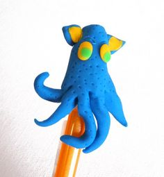 Bright Blue Squid Monster Pencil Topper - novelty eraser. $8.75, via Etsy.