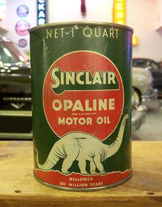 Dad and Mom had a country store.  They sold Sinclair product.  I still have a small metal gas pump bank. Fond memory  Sinclair Opaline - via Colby Thueson