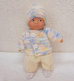 Habits poupon 20 cm : ensemble pantalon, gilet et bonnet tons pastels : Jeux, jouets par mcl-poupees