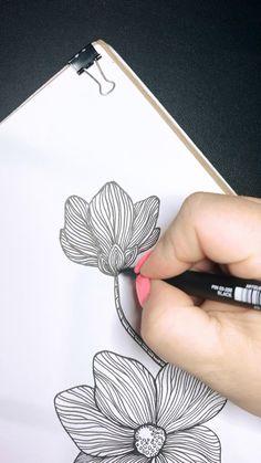 Flower Drawing Tutorials, Art Tutorials, Cool Art Drawings, Easy Drawings, Zentangle Drawings, Zentangles, Pencil Drawings For Beginners, Cast Art, Art Painting Gallery