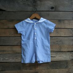 Vintage Unisex Children's Blue & White Gingham Romper by