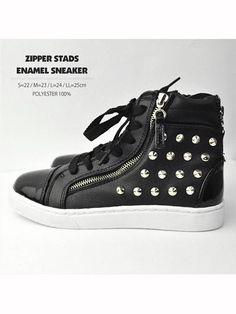 Zipped Enamel Sneaker w/Studs Black. See more at: http://www.cdjapan.co.jp/apparel/listenflavor.html #harajuku #LISTEN FLAVOR