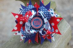 New York Giants Super Bow Stacked Boutique Hair Bow