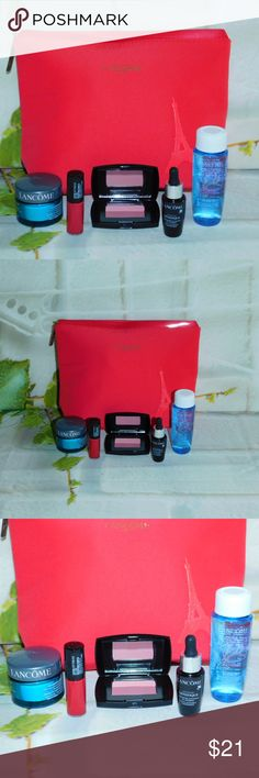 New Lancome 5 pc gift set with cosmetic bag New unopened Lancome gift set with beautiful red cosmetic bag.  1. Genifique 2. Bi facial eye makeup remover 3. Visionnaire cream with sunscreen 4. Magenta 378 lip color 5. Rose Fresque Blush,  (looks two toned from shadow) Lancome Makeup