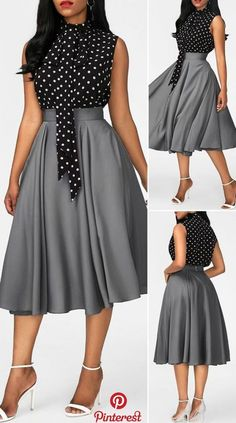 Kleider Mit Glockenrock High Neck Printed Black top and Grey Skirt Africaine Elegant Dresses Classy, Elegant Dresses For Women, Classy Dress, Pretty Dresses, Cute Dress Outfits, Classy Work Outfits, Stylish Outfits, Casual Dresses, African Maxi Dresses