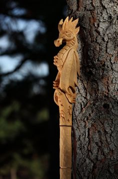 Hand-Carved Dragon Walking Stick Smaug by MKWoodcarving on Etsy