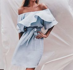 Chambray off the shoulder dress.