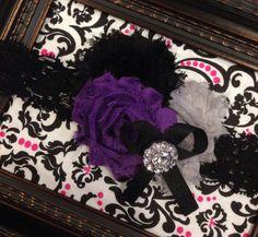 Purple Black Gray Flower Headband for newborn baby infant toddler girl on Etsy, $6.99