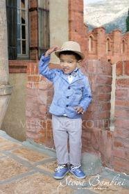 e13fddf208f Βαπτιστικά ρούχα για αγόρι της Stova Bambini κουστούμι μεμελανζέ σιέλ  σακάκι στενόμεσο με πέτο γιακά,