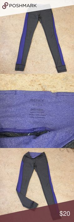 ROXY Stirrup Yoga Pants Size Small Gray ROXY yoga stirrup pants with mesh purple side panels. Great for lounging, yoga, running or just running errands. Roxy Pants Track Pants & Joggers