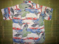 Vintage Hawaiian shirt 1950's Surf Island Retro Aloha Men's Size Large Hale Cranes. $520.00, via Etsy.