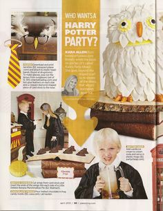 Harry Potter Party Ideas from Parenting Magazine, Pg 1 Harry Potter Theme, Harry Potter Birthday, Harry Potter Diy, Harry Potter Universal, Birthday Fun, Birthday Party Themes, Hedwig Costume, Kids Party Themes, Party Ideas