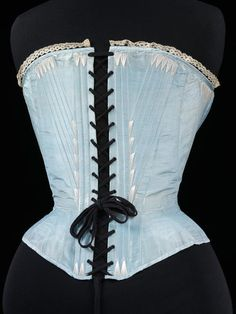 1864, France or United Kingdom - Corset - Silk, edged with machine-made lace, reinforced with whalebone, metal, lined with cotton twill