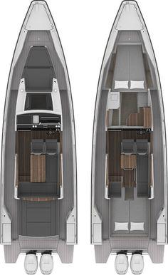 Axopar 37 Cabin » Axopar Boats Yacht Design, Boat Design, Roof Hatch, Folding Seat, Toilet Wall, Sport Boats, Underwater Lights, Cabin Kitchens, Roof Rails