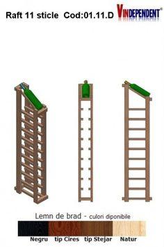 Raft din lemn tip display pentru 11 sticle