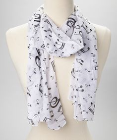 White & Black Musical Note Scarf - Rock n Roll scarf for Stella - Rock Chick - Kristen Ashley
