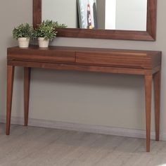 La Viola Décor 213 Plus Club Console Table Top Finish: Walnut Hallway Table Decor, Entrance Table, Entry Tables, Wooden Console, Console Table, Design Club, Mid Century Console, Entry Furniture, Outdoor Dining Chair Cushions