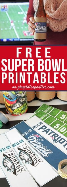 Don't stress over your Super Bowl party! Click through to get your free super bowl party printables, plus tips for how to make them look amazing. via playdatesparties.com #football #gameday #printables #superbowlparty #superbowl  https://playdatesparties.com/free-super-bowl-printables/