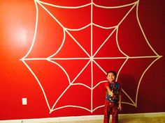 Spiderman web accent wall for superhero themed room. Create web with painters tape on white wall. Paint wall around it red. Remove painters tape and you have a Spidey web! Spiderman Web, Spiderman Theme, Room Wall Painting, Kids Room Paint, Superhero Room, Bedroom Themes, Bedroom Ideas, Man Room, Batman