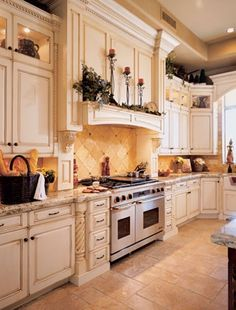 White Kitchen Cabinets, Tile Floor Love The Shelf Over The Stove