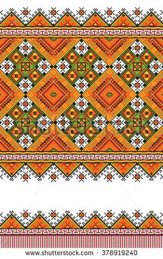 Embroidered good like old handmade cross-stitch ethnic Ukraine pattern. Traditional Ukrainian folk art pattern - vyshyvanka called. Hutsul colors - stock vector